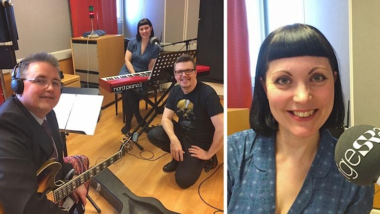 Anna Lovdal tillsammans med sitt band, en keyboard och gitarr syns tillsammans med de tre bandmedlemmarna. Splitbild. Anna Lovdal syns på den andra bilden i splitten.