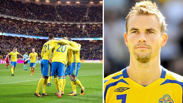 På ena bilden syns svenska landslaget fira ett mål i VM-kvalet, på andra syns Niclas Alexandersson i landslagsdressen.
