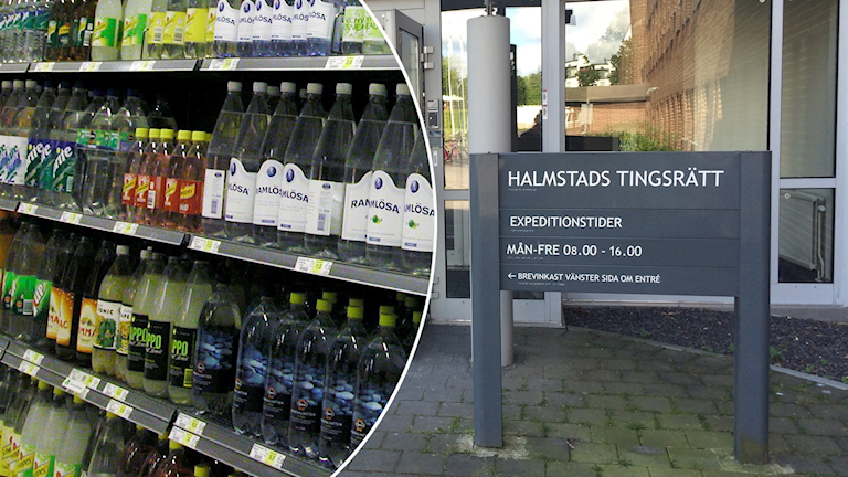 Drycker i butik/Skylt med texten Halmstads tingsrätt