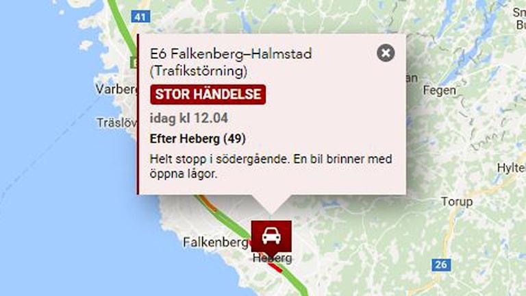 skärmdump från trafikredaktionen, information om trafikstörning efter att en bil brinner
