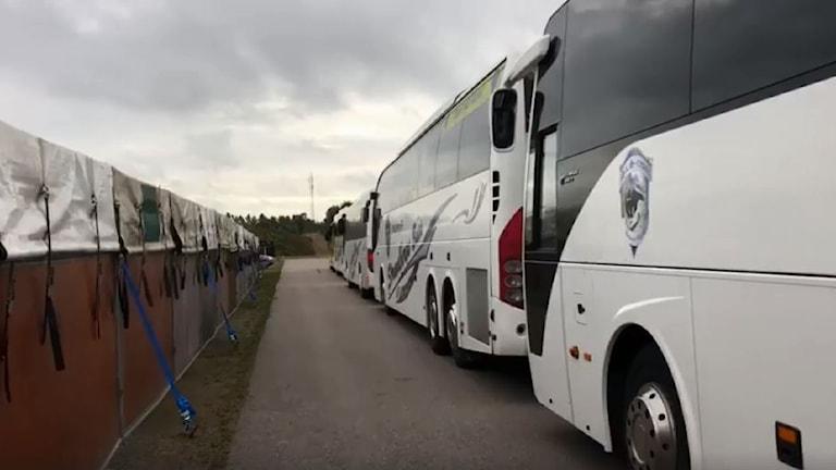 bussar vid utestallar
