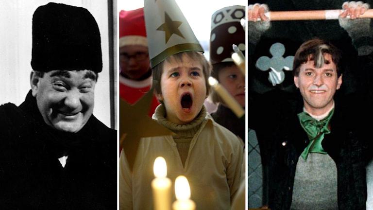 Arkivbilder från de klassiska julkalendrarna teskedsgumman, Håkan Bråkan och Pelle Svanslös.