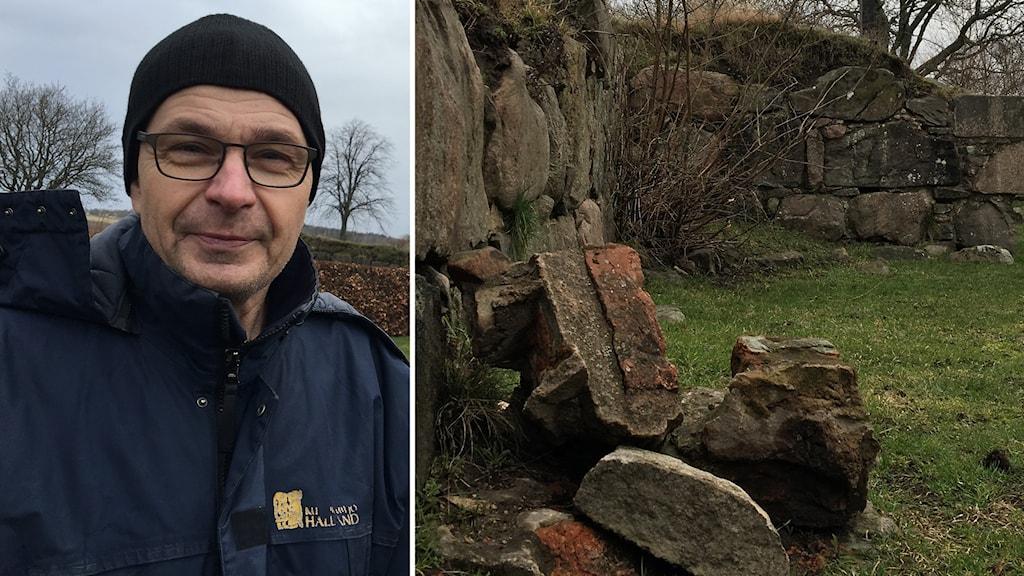 Till vänster: En man står i utomhusmiljö. Han har en svart mössa och en mörkblå jacka på sig och tittar in i kameran. Till höger: Stenar ligger på marken bredvid en stenmur.