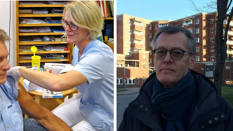 Vaccinering av patient och Mats Erntell, smittsskyddsläkare.
