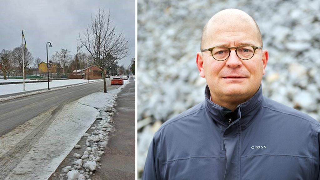 Kollage med två bilder. Till vänster en bild på  ett snöigt Storgatan i Hyltebruk. Till höger en porträttbild på Hampe Mobärg; han bär glasögon och har på sig en svart jacka.