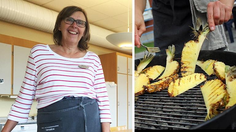 Hemkunskapslärare Veronica Frohm och grillad ananas