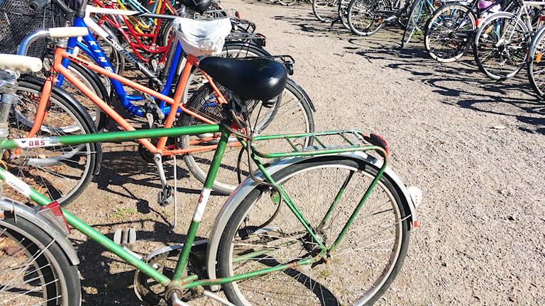 Parkerade cyklar i Halmstad.