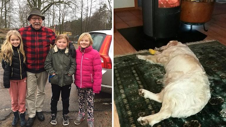 Hunden Ayla är återfunnen! På bilden syns också Tommy Nilsson och flickorna som hittade Ayla.
