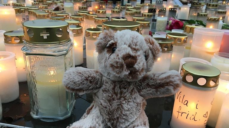 Många tända ljus och brev till Dante låg på Stortorget i centrala Falkenberg på lördagsmorgonen.