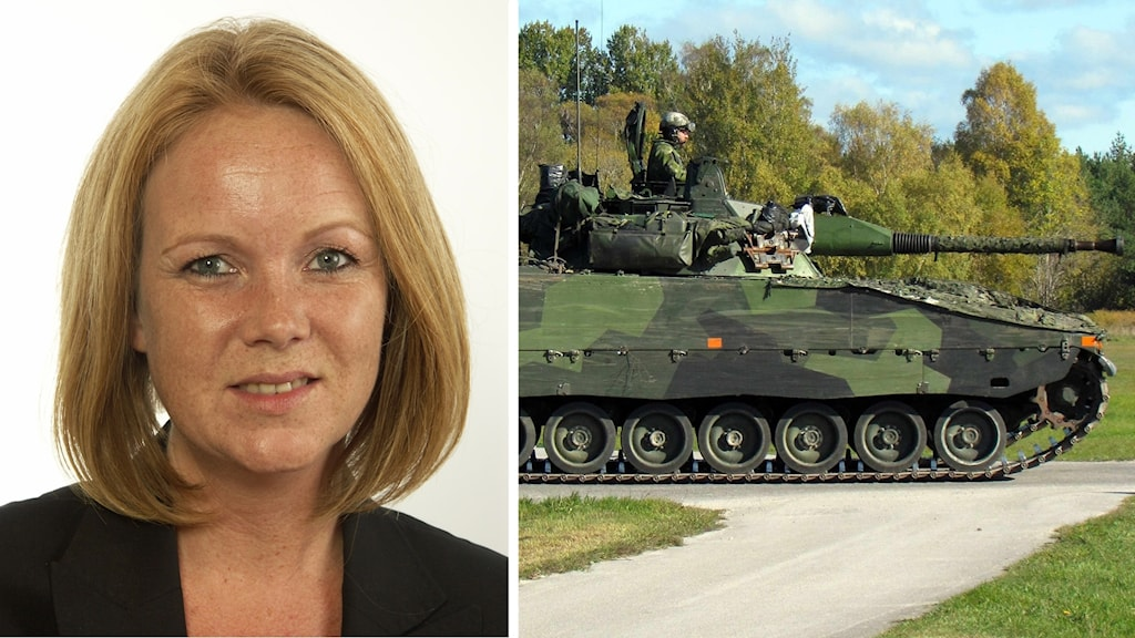 Bild på Jennie Nilsson, ihopsatt med bild på en stridsvagn från militären.