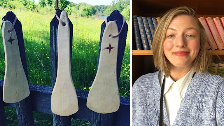 Bilden visar tre rövspatlar samt Julia Mielke som är utveckare i Äskhults by.