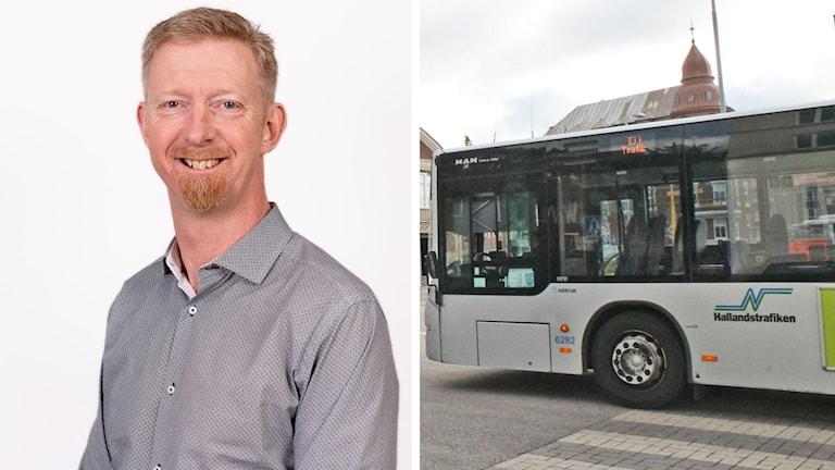 Splitbild på buss och Jan Larsson.