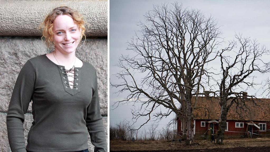 Porträttbild på Jennifer Erlandsson delat med en genrebild på ett ödehus i Halmstad.