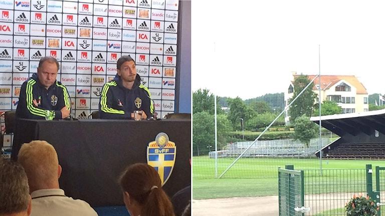 Zlatan är på plats på Örebäcksvallen inför landslagets träning. Foto: Andreas Lundin/Sveriges Radio