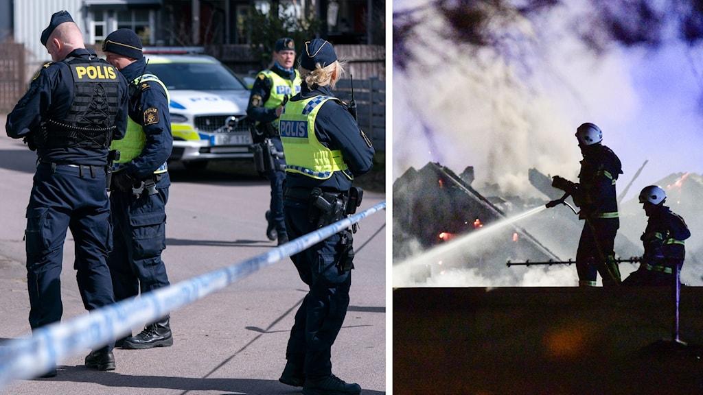 Poliser som står bland avspärrningar, brandmän som släcker eld.