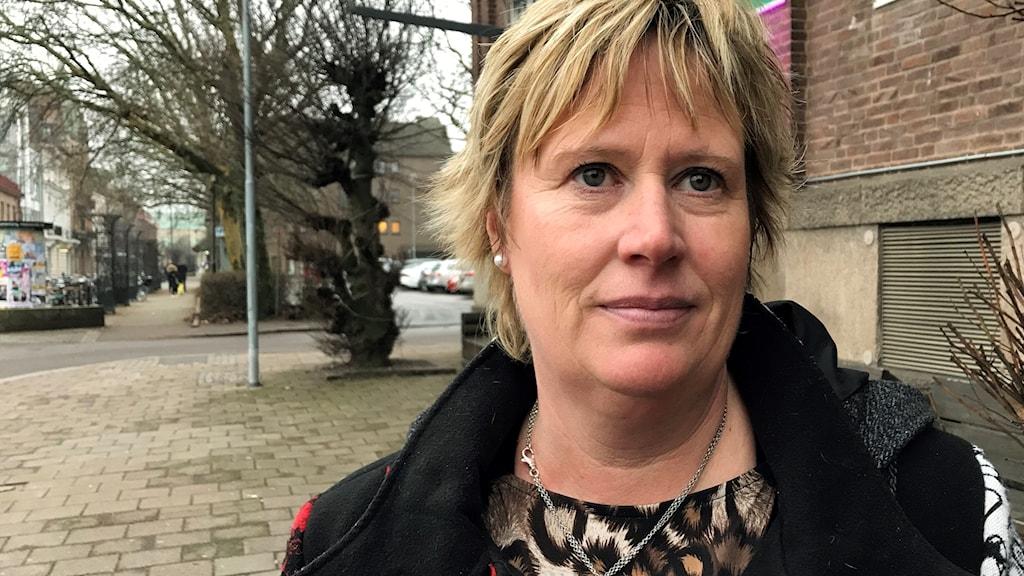 Mikaela Waltersson (M), ordförande för regionstyrelsen, Region Halland. Foto: Therese Wahlgren/Sveriges Radio.