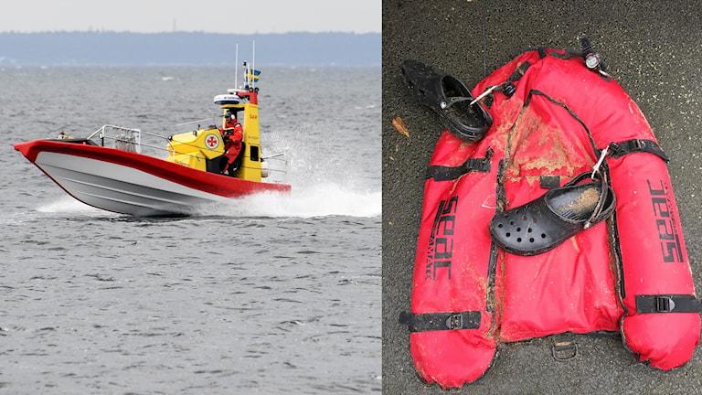 En större sökinsats pågår i vattnet utanför Halmstad sedan någon hittat en ilandfluten flotte på Östra stranden. Foto: Johan Nilsson/TT och Sjöfartsverket