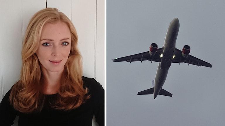 Kvinna och flygplan