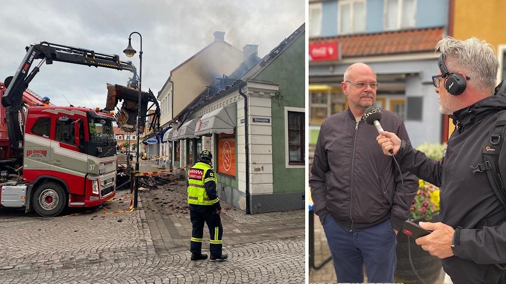 Christer Dahlberg bor intill det branddrabbade huset i centrala Laholm.