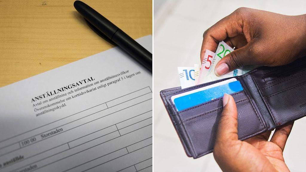 Anställningsavtal och bild på plånbok.