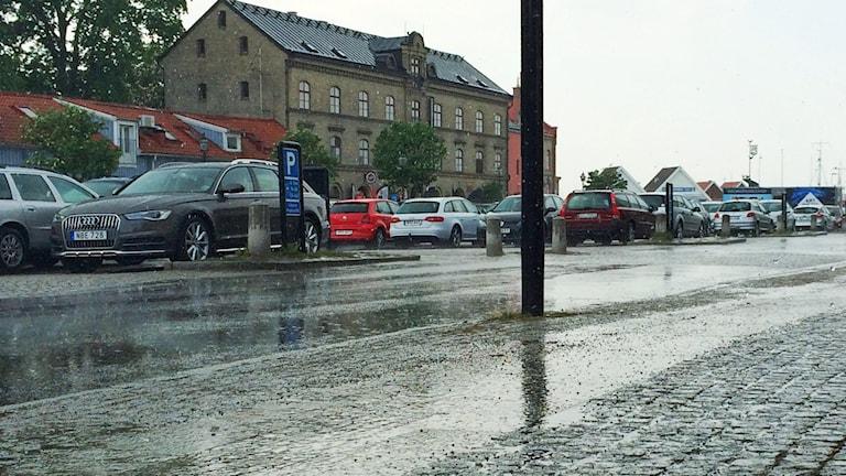 I Varberg regnade det ordentligt under tisdagseftermiddagen.