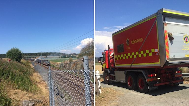 till vänster en bild tagen på den brinnande tågvagnen från avstånd, till höger en bild på räddningstjänstens bil