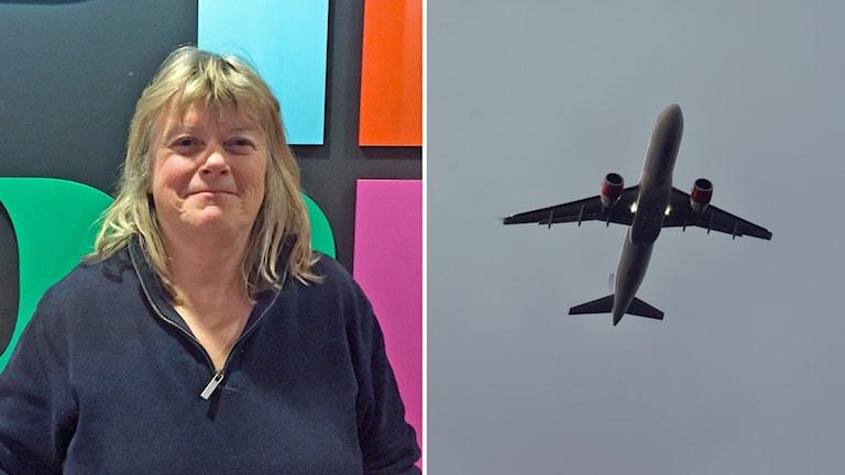Elisabeth Falkhaven vid sidan av ett flygplan