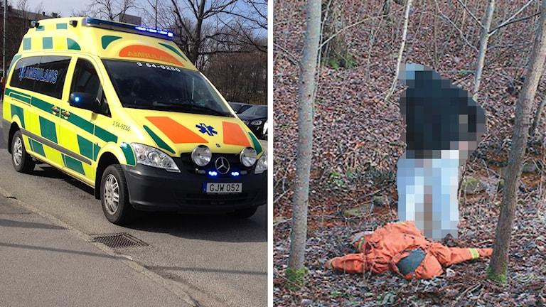 Frennarpsmordet och ambulans, splitbild