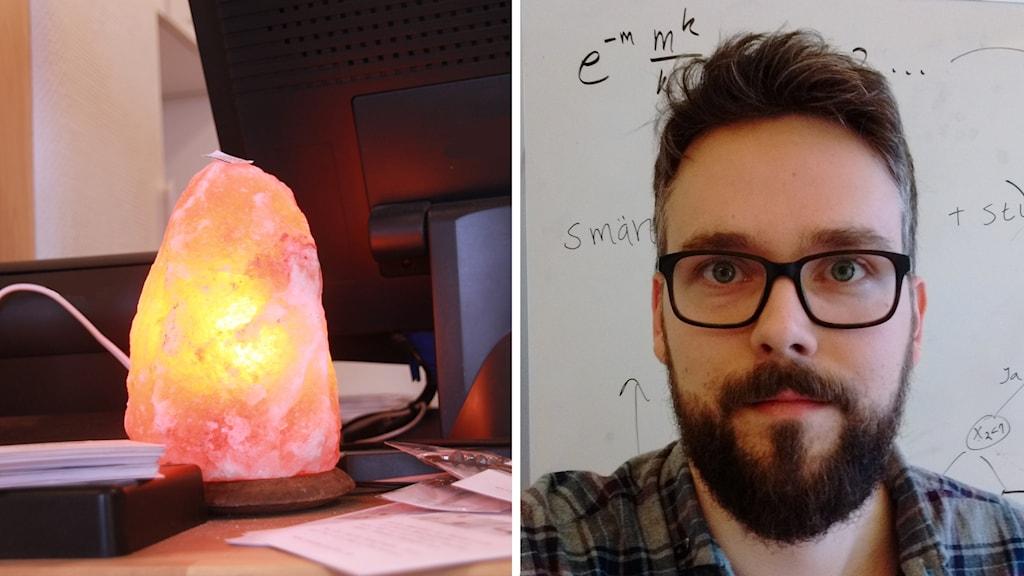 splitbild på saltstenslampa och matematikern Måns Tuhlin.