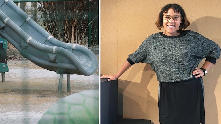 Till vänster syns en rutschkana på en lekplats, till höger står en kvinna framför en vägg, ser in i kameran och ler.