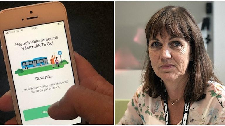 Till vänster en bild på To go Appen i en mobil, till höger en kvinna med långt brunt hår.