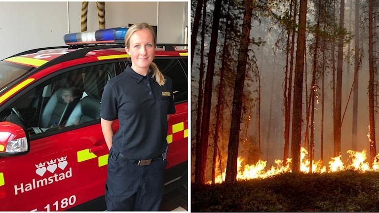 Frida Svensson, brandingenjör i beredskap i Halmstad bredvid stor eld.