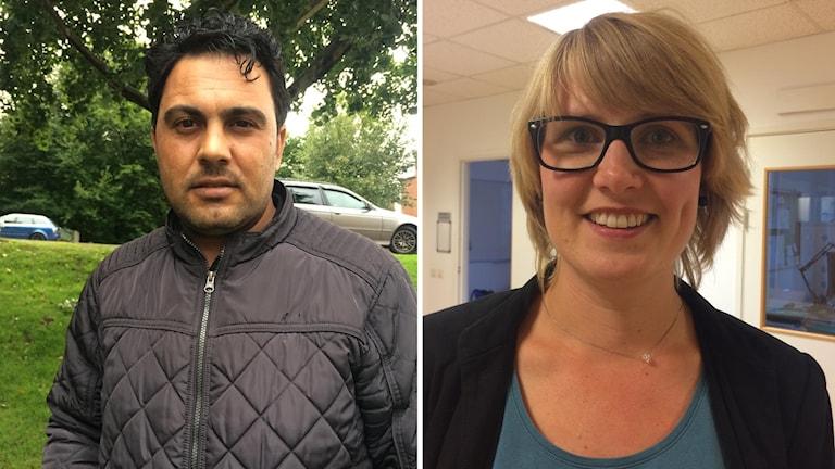 Nawras Alswidani som kom till Sverige för tre år sedan och Kerstin Delefelt på Region Halland som vill att fler Hyltebor ska engagera sig för att lära nyanlända svenska.