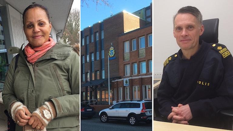 Det är tre foton i ett. Längst till vänster står Solange Lehnberg, hon har grön jacka, har mellanbrun hy och svart uppsatt hår. På mittenbilden syns polishuset i Varberg som är ett hus i fyrs plan i rödbjunt tegel. Till höger sitter Stefan Yngstrand på en stol med knäppta händer och mörklå poliströja.