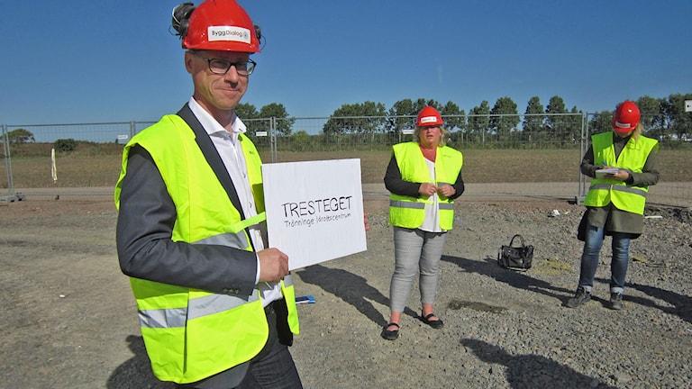 Christofer Bergenblock, ordförande i kultur- & fritidsnämnden helt nöjd  med det vinnande namnförslaget. Foto: Göran Frost/Sveriges Radio