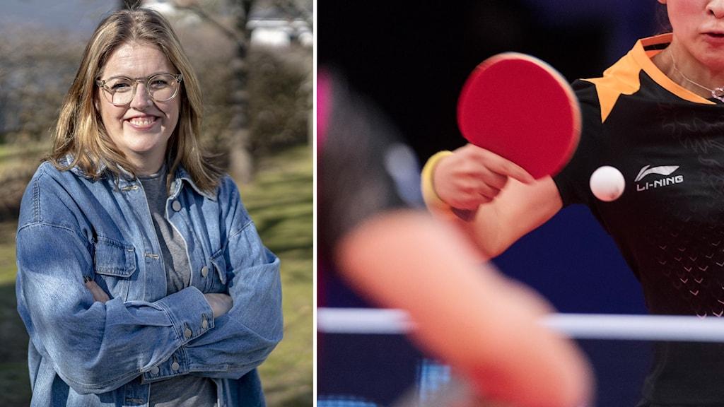 En leende kvinna tittar in i kameran. Till höger syns en kvinna spela bordtennis.