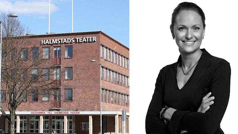 Lina Siljegård bakom vit bakgrund i splitbild med Halmstads teater, en tegelbyggnad mot blå himmel.