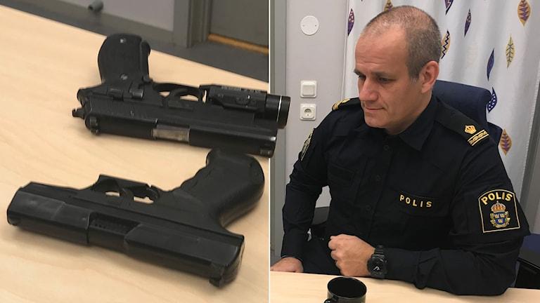 Ett av vapnen är riktigt. Det andra är en leksak. Joakim Friberg , vapeninstruktör hos Hallandspolisen, säger att det är mörker är svårt att skilja ett leksaksvapen från ett riktigt.