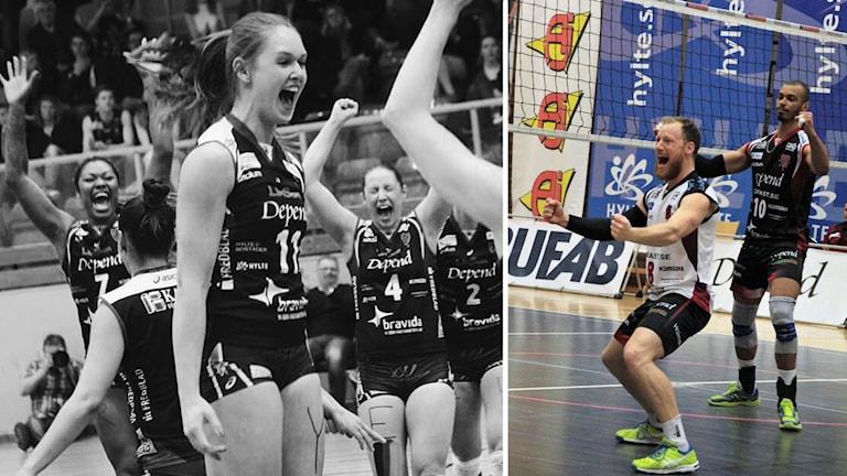Till vänster: Jubel från säsongen 2016/2017 - Kommer det att bli liknande glädjescener för Hylte/Halmstads damlag även i år? Till höger: Anton Tegenrot, en av de mest rutinerade spelarna i Hylte/Halmstad kommer få en viktig roll i slutspelet och vet hur man firar vunna anfall trots sin försvarsposition.