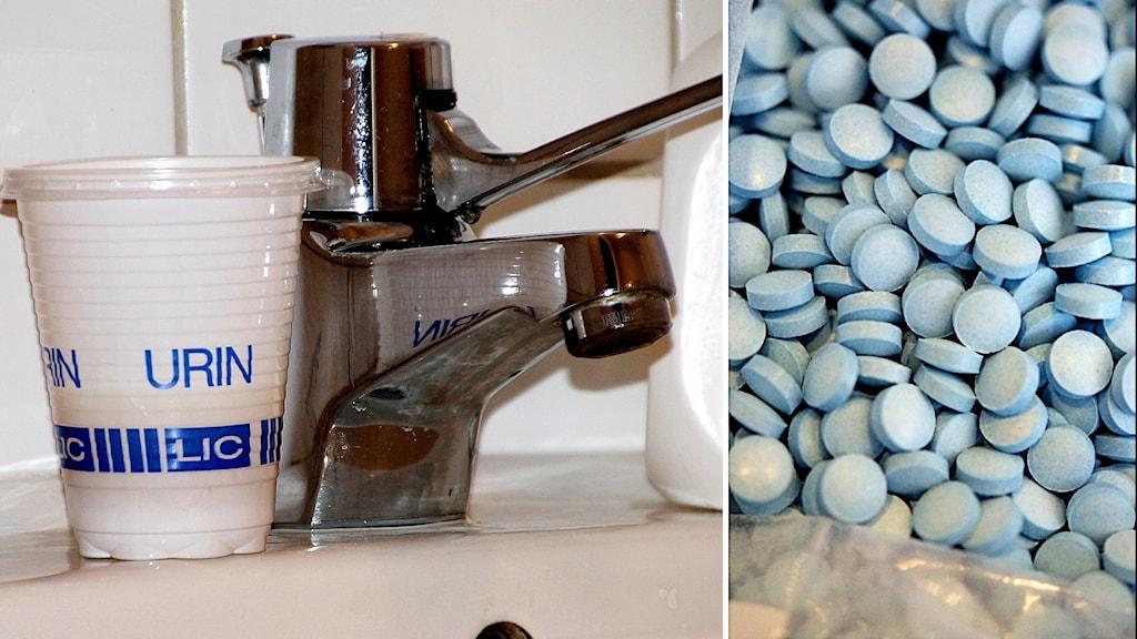 Bild på mugg med urinprov ståendes på ett handfat. Även bild på droger i pillerform.