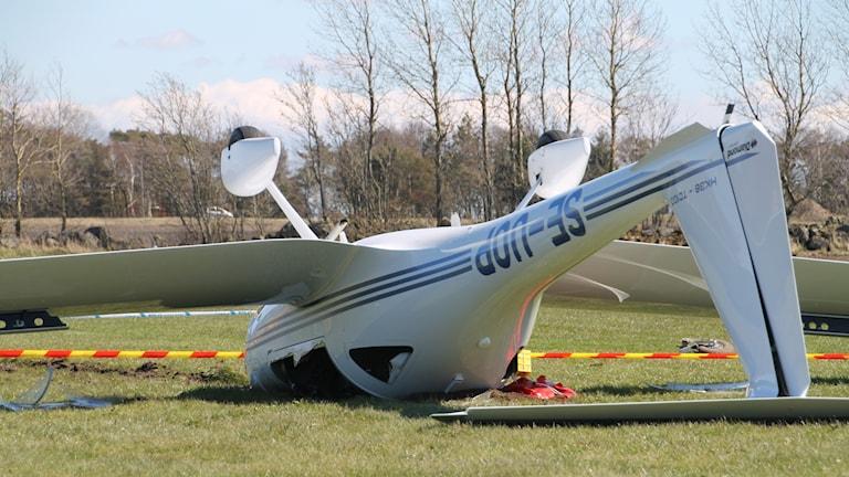 Flygplanet som voltade när det skulle landa vid Falkenbergs flygfält.