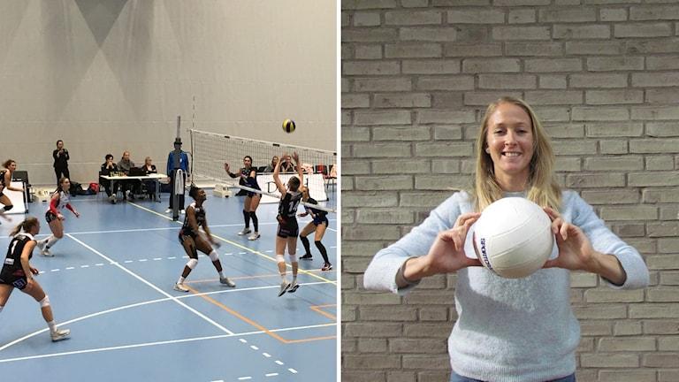 Hylte/Halmstad spelar volleyboll. Bredvid bild på kvinna med volleyboll