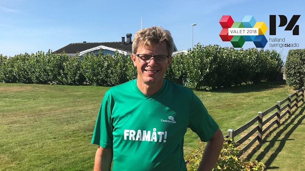 Ola Johansson med en grön t-shirt på sig