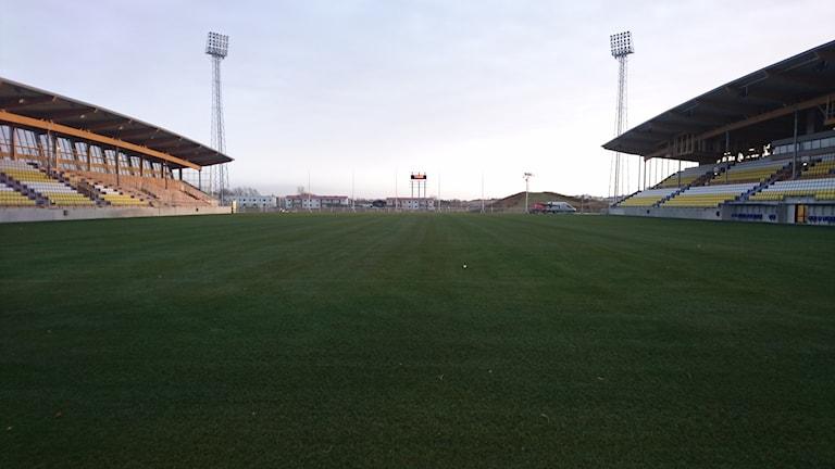 Falkenberg är den stad som blir huvudort för mästerskapet. Falcon Alkoholfri Arena på bilden.