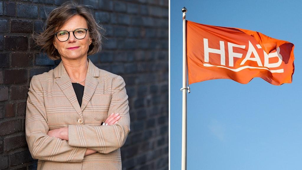 En bild på vd Catharina Rydberg Lilja och en bild på en HFAB-flagga.
