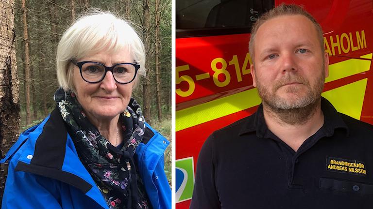 Skogsbrukaren Monica Persson och räddningschefen Andreas Nilsson.
