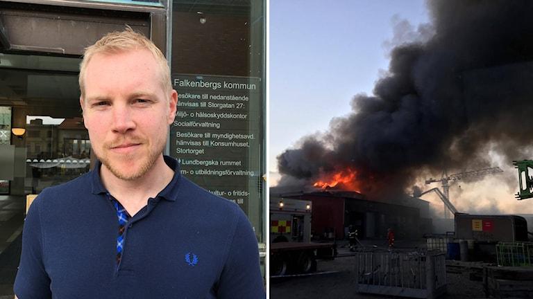 Splitbild på miljöinspektör Frans Karlsson och en bild där mörk rök bolmar från en brinnande byggnad.