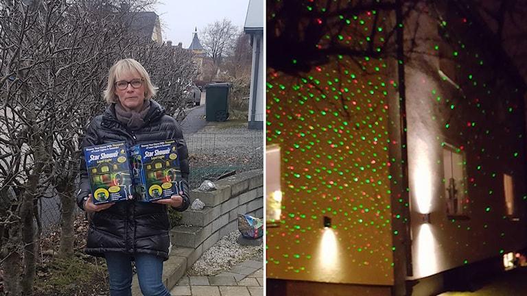 Camilla Jacobsson står med två förpackningar julpynt i famnen och en bild på fasaden som är upplyst med gröna och röda prickar. Splitbild.