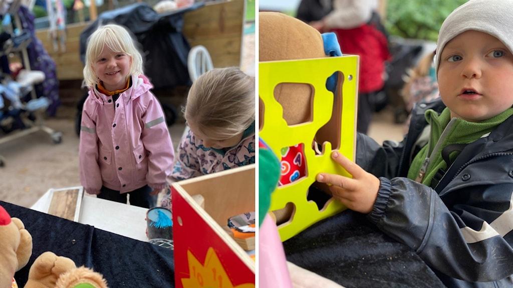 Barn visar glatt upp leksaker