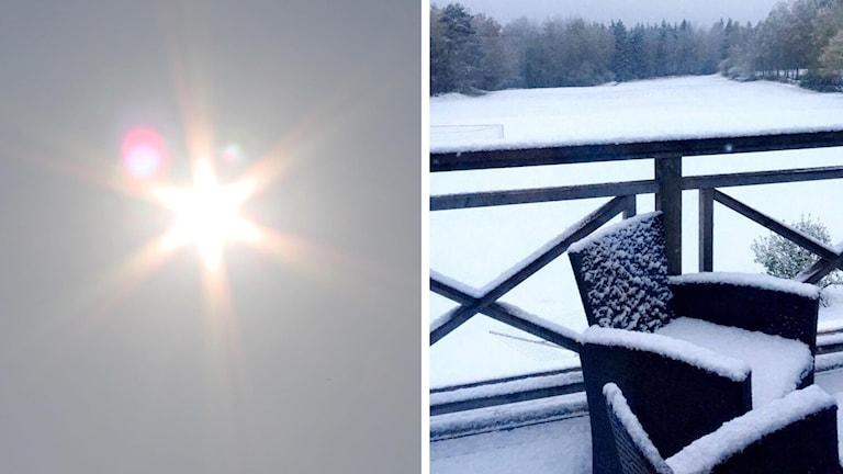 sol och snö. splitbild.